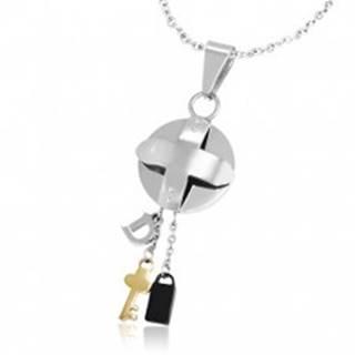 Oceľový trojfarebný prívesok - medajlón s krížom a malé prívesky