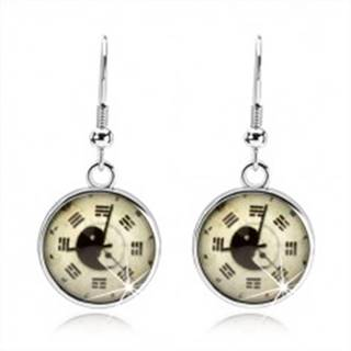 Okrúhle náušnice, kabošon, hodinky, jin jang, trigramy, svetložltý podklad