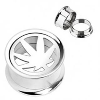 Plug do ucha - vykrojený list marihuany - Hrúbka: 10 mm