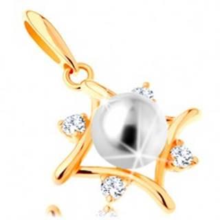 Prívesok zo žltého 14K zlata - kontúra kosoštvorca, číre zirkóny, biela perla