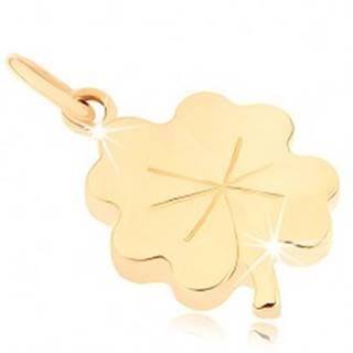 Prívesok zo žltého 9K zlata - lesklý plochý štvorlístok pre šťastie, ryhy