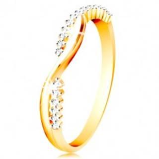 Prsteň v 14K zlate - dve úzke prepletené vlnky - hladká a zirkónová - Veľkosť: 49 mm