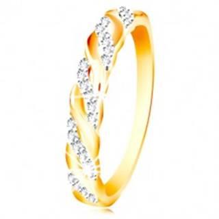 Prsteň v kombinovanom zlate 585 - zirkónové a hladké vlnky - Veľkosť: 49 mm