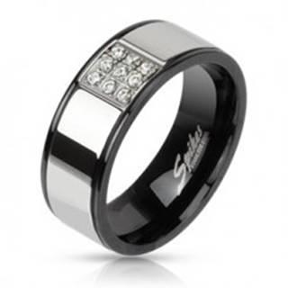 Prsteň z ocele striebornej farby s čiernymi okrajmi, zirkónový štvorec - Veľkosť: 54 mm