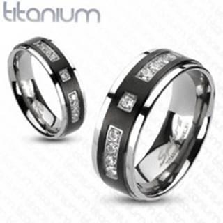 Prsteň z titánu s matným čiernym pruhom a kamienkami - Veľkosť: 49 mm