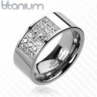 Prsteň z titánu s obdĺžnikovým výrezom vykladaným zirkónmi - Veľkosť: 59 mm
