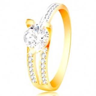 Prsteň zo 14K zlata - veľký číry zirkón, asymetrické ramená s drobnými zirkónmi - Veľkosť: 50 mm