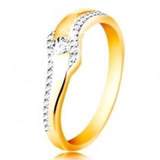 Prsteň zo 14K zlata - vlnka s čírym zirkónom a trblietavými líniami po stranách - Veľkosť: 49 mm