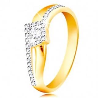 Prsteň zo 14K zlata - zvlnené a rozdvojené ramená, okrúhly zirkón v kosoštvorci - Veľkosť: 49 mm