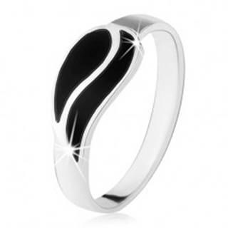 Prsteň zo striebra 925, dve vlnky z čierneho ónyxu, vysoký lesk - Veľkosť: 49 mm