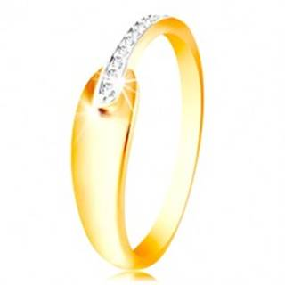 Prsteň zo zlata 585 - lesklá oblá slza a trblietavý pás z čírych zirkónikov - Veľkosť: 48 mm