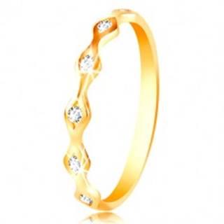 Prsteň zo žltého 14K zlata - lesklé zrnká so vsadenými zirkónmi čírej farby - Veľkosť: 49 mm
