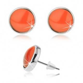 Puzetové náušnice kabošon, priehľadné vypuklé sklo, oranžová farba