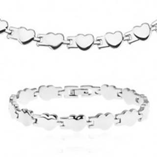 Set z chirurgickej ocele - náhrdelník a náramok, lesklé pospájané srdiečka
