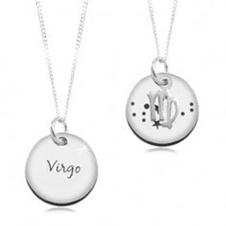 Strieborný 925 náhrdelník, retiazka a okrúhly prívesok - PANNA