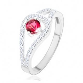 Strieborný prsteň 925, rozdvojené trblietavé ramená, ružový zirkón - Veľkosť: 49 mm
