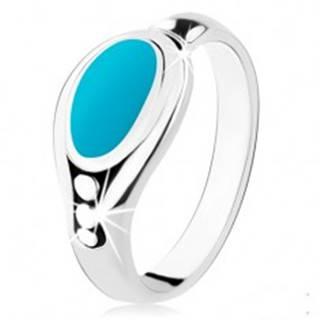 Strieborný prsteň 925, tyrkysový ovál, lesklý okraj, tri guľôčky - Veľkosť: 48 mm