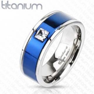 Titánový prsteň s modrým pruhom a štvorcovým zirkónom - Veľkosť: 49 mm