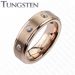 Wolfrámový prsteň v jemnom medenom odtieni, tri číre zirkóny - Veľkosť: 49 mm