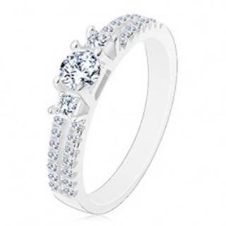 Zásnubný prsteň, striebro 925, rozdelené zirkónové ramená, tri číre zirkóny - Veľkosť: 50 mm