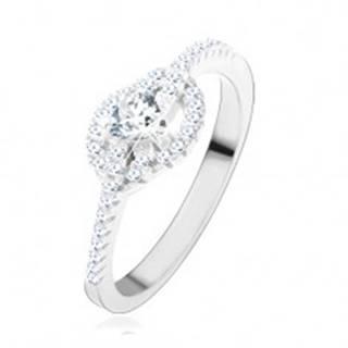 Zásnubný prsteň zo striebra 925, číre zirkónové srdce, zatočené línie - Veľkosť: 49 mm