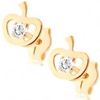 Zlaté náušnice 375 - ligotavý obrys jabĺčka, okrúhly zirkón čírej farby