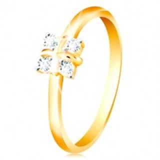 Zlatý 14K prsteň - lesklé zaoblené ramená, štyri číre zirkóny, krížik v strede - Veľkosť: 49 mm