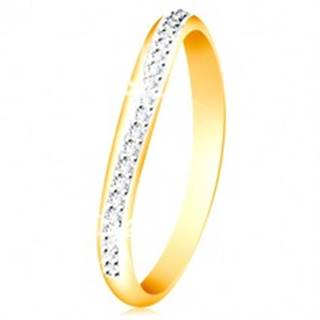 Zlatý 14K prsteň - ligotavý zvlnený pás z čírych zirkónov a bieleho zlata - Veľkosť: 49 mm