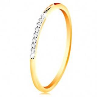 Zlatý 14K prsteň - tenké lesklé ramená, ligotavá číra zirkónová línia - Veľkosť: 49 mm