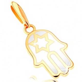 Zlatý prívesok 585 - ruka Fatimy pokrytá glazúrou bielej farby, hviezda