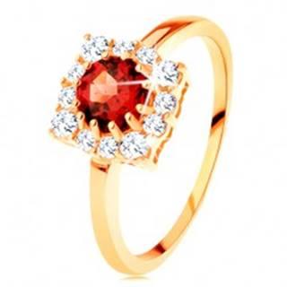 Zlatý prsteň 585 - štvorcový zirkónový obrys, okrúhly červený granát - Veľkosť: 49 mm