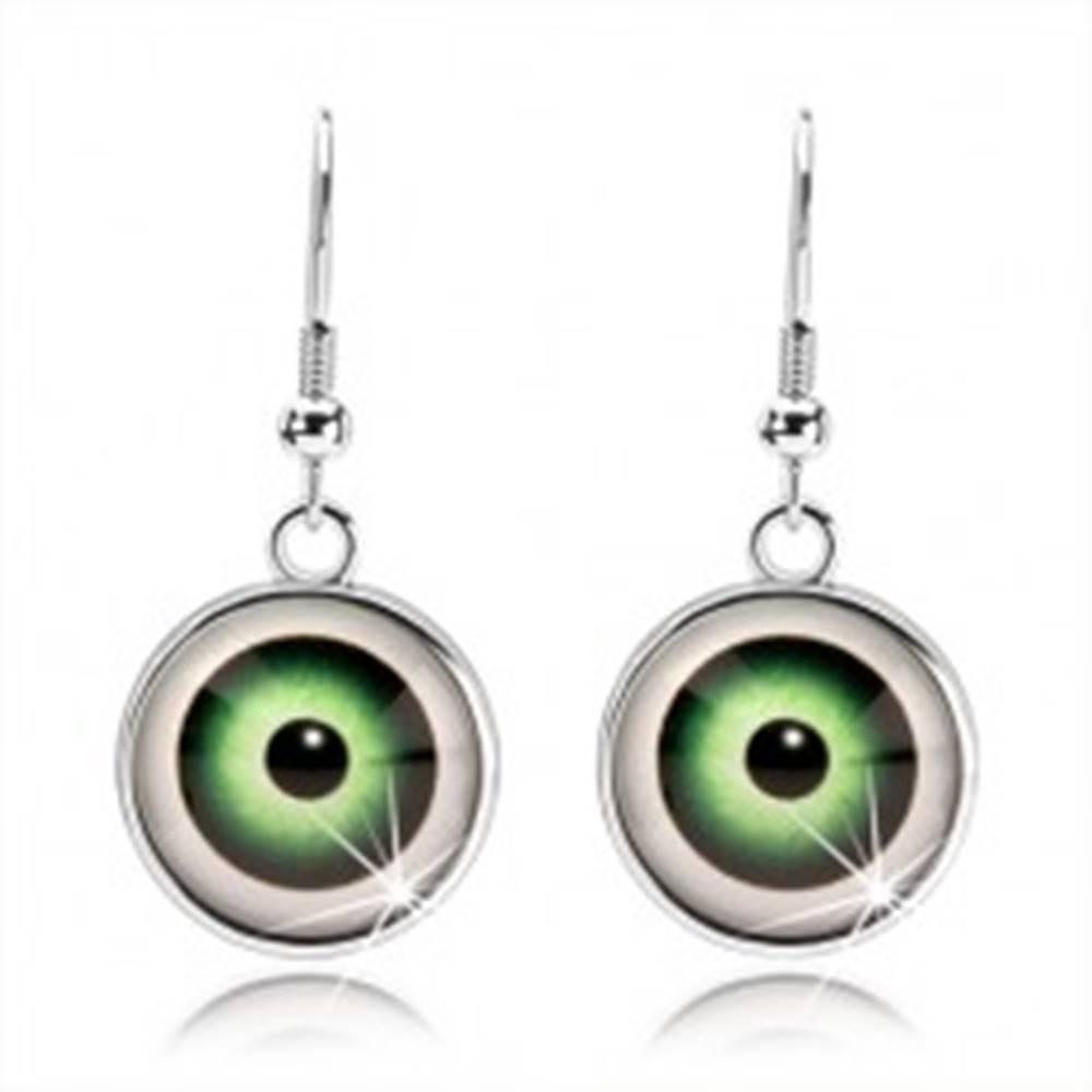 Šperky eshop Cabochon náušnice, vypuklé číre sklo, oko zelenej farby s bielym lemom