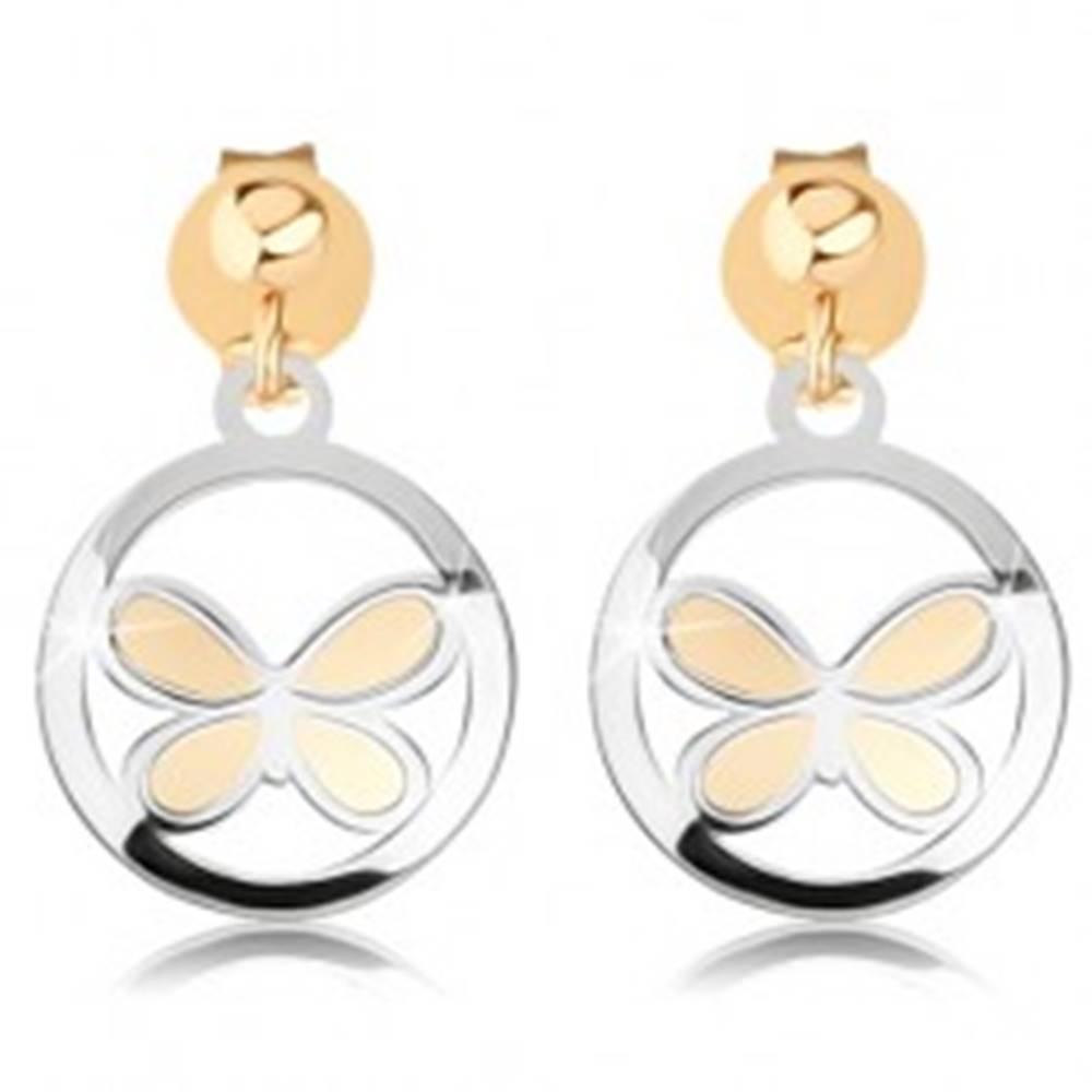 Šperky eshop Dvojfarebné náušnice v 9K zlate - matný motýľ v lesklej kontúre kruhu
