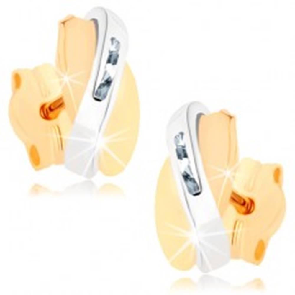 Šperky eshop Dvojfarebné náušnice v 9K zlate - prekrývajúce sa oblúčiky, číre zirkóniky