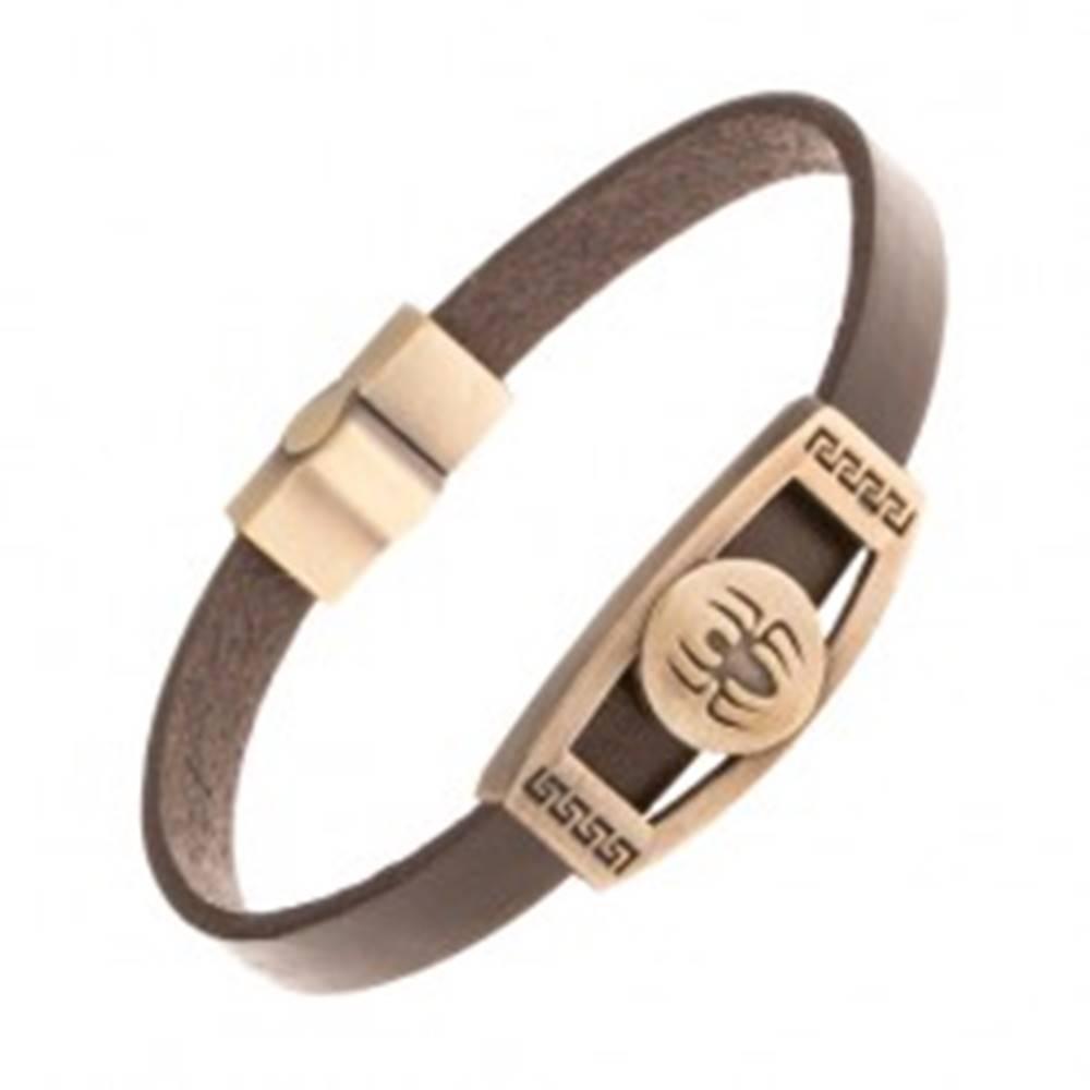 Šperky eshop Hnedý kožený náramok, známka mosadznej farby - pavúk v kruhu, grécky kľúč