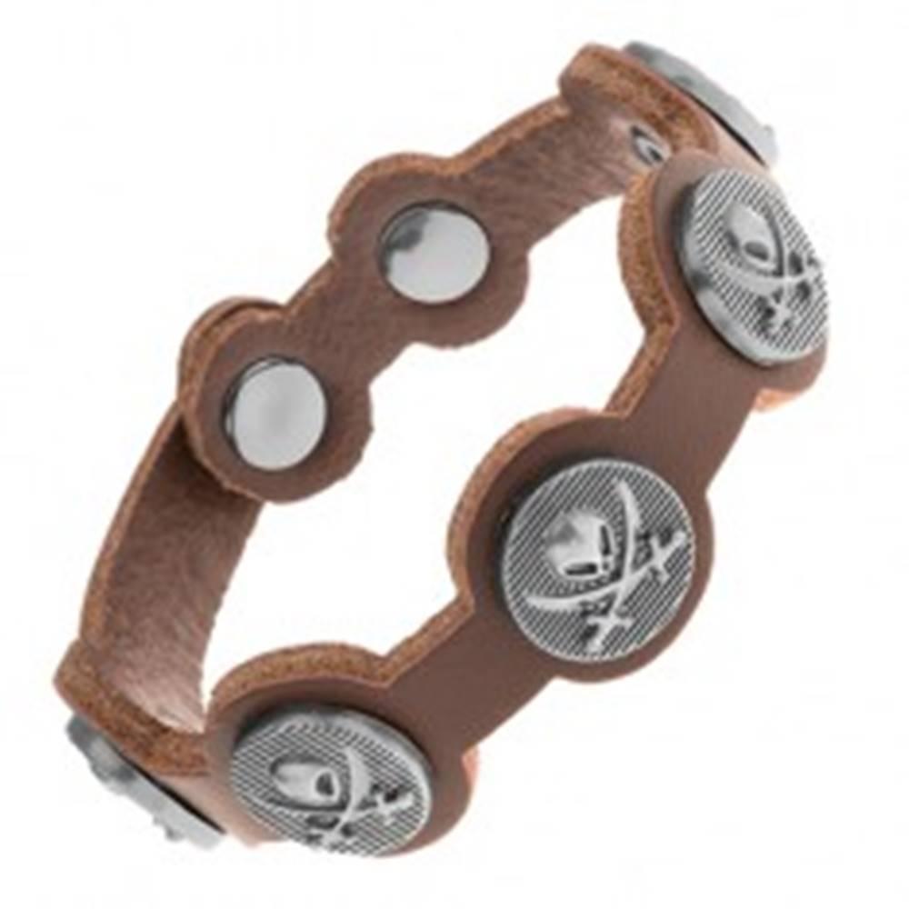 Šperky eshop Hnedý náramok zo syntetickej kože, oceľové kruhy s lebkou a mečmi