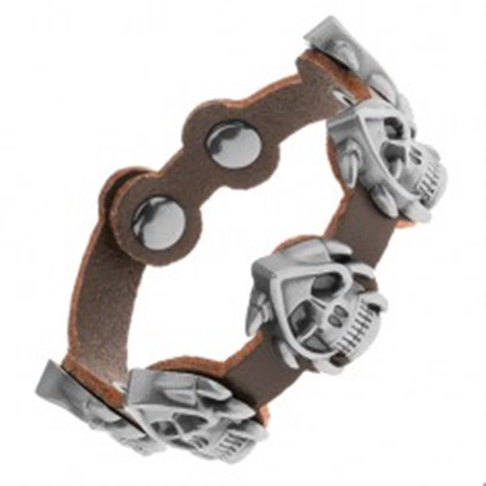 Šperky eshop Kožený náramok tmavohnedej farby, matné patinované lebky z ocele, pazúry