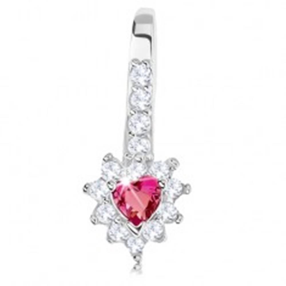 Šperky eshop Ligotavý prívesok, striebro 925, ružové zirkónové srdiečko, číry lem
