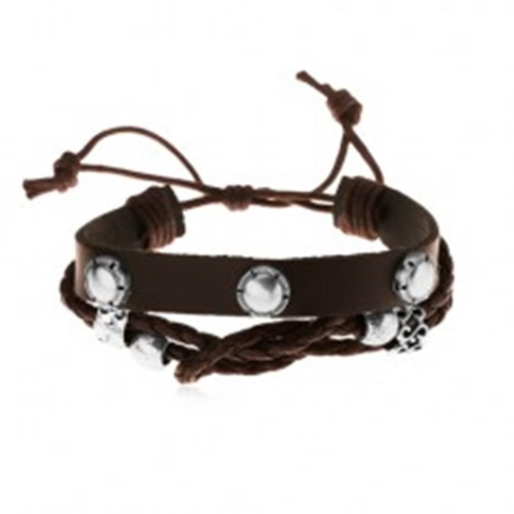 Šperky eshop Multináramok z kože a motúzikov, oceľové korálky, okrúhle nity so zárezmi