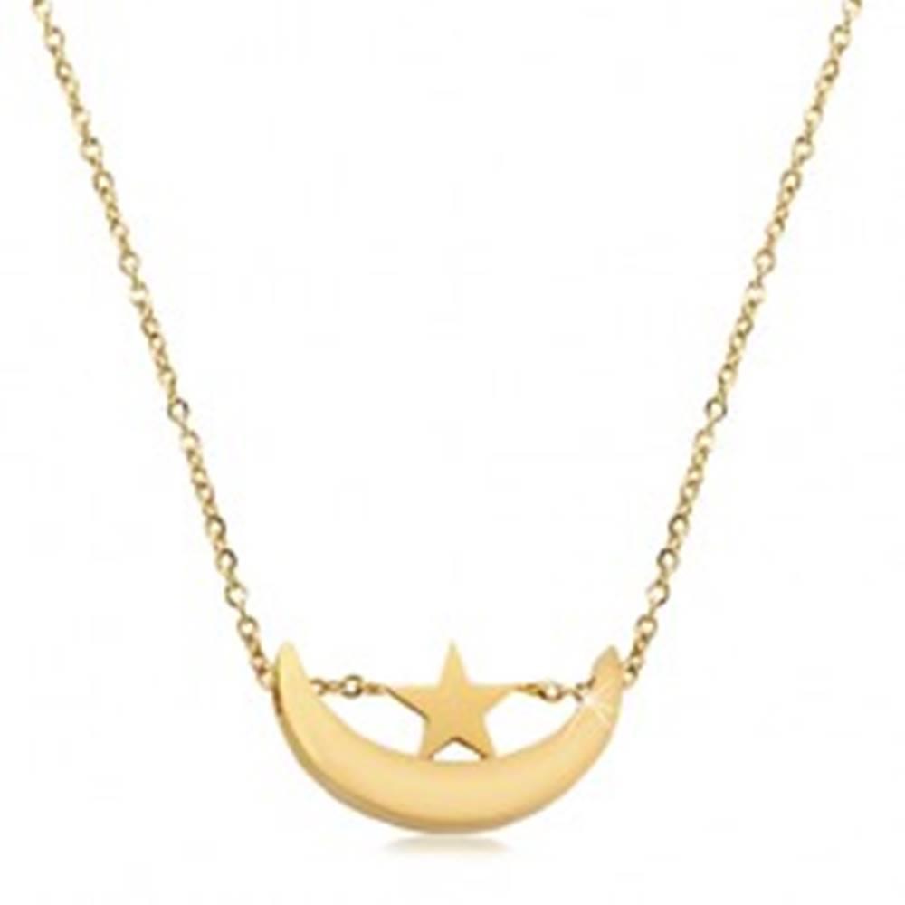 Šperky eshop Náhrdelník v zlatom odtieni, chirurgická oceľ, lesklý cíp mesiaca a hviezdička