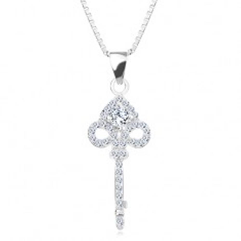 Šperky eshop Náhrdelník zo striebra 925, retiazka a prívesok - vyrezávaný kľúčik, zirkóny