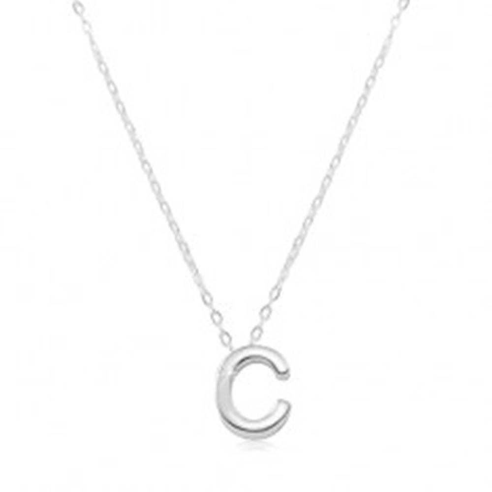 Šperky eshop Náhrdelník zo striebra 925, veľké tlačené písmeno C, lesklá retiazka