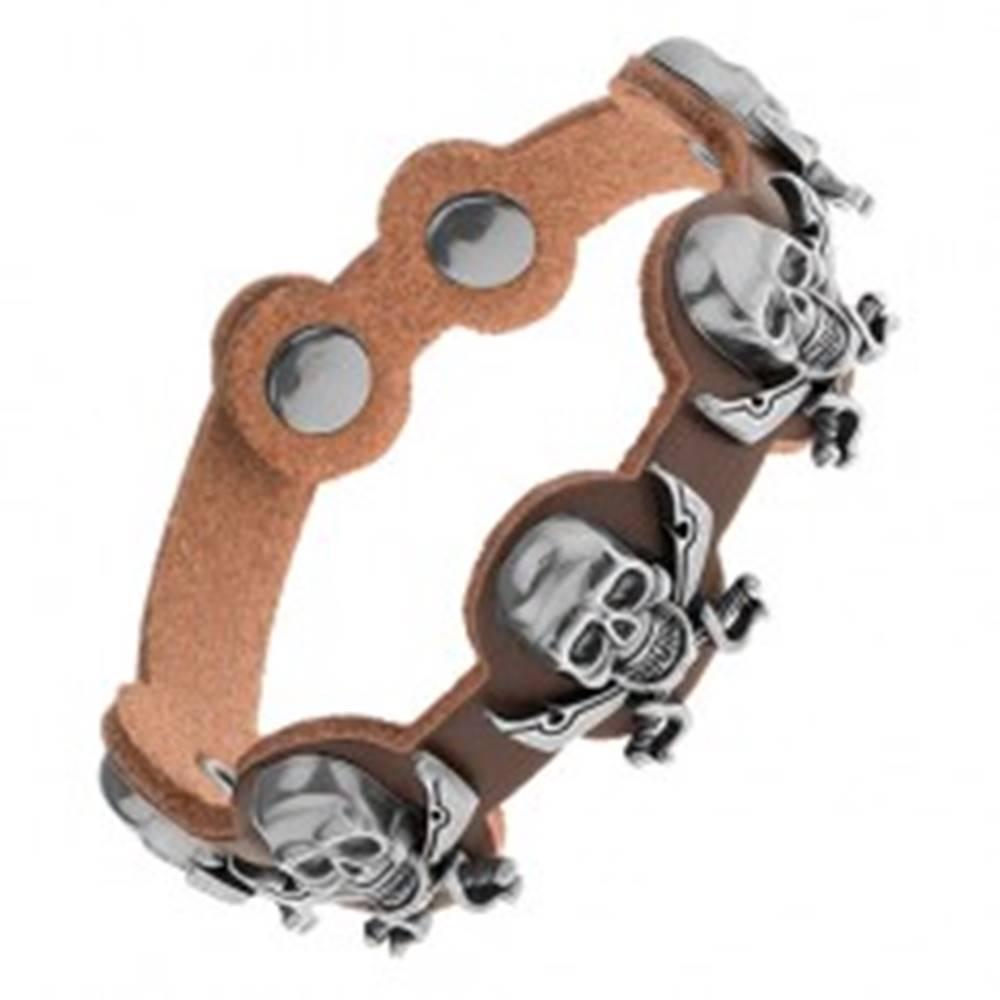 Šperky eshop Náramok z hnedej umelej kože, oceľové lebky s prekríženými mečmi