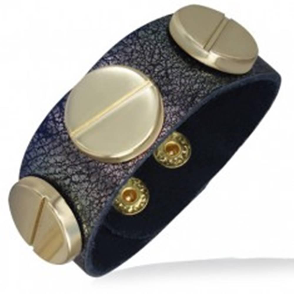 Šperky eshop Náramok z kože v medenej farbe s tromi skrutkami zlatej farby