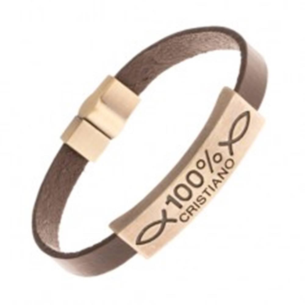 Šperky eshop Náramok z umelej kože hnedej farby, známka s nápisom 100% CRISTIANO