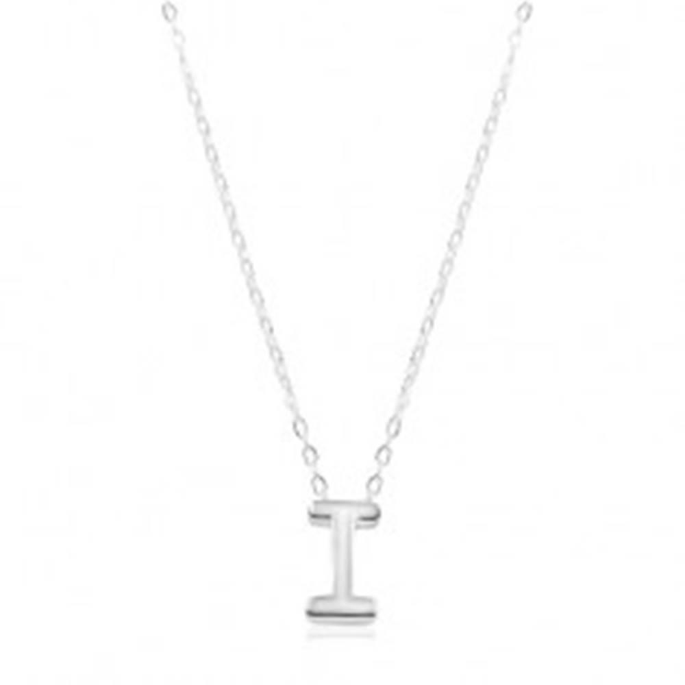 Šperky eshop Nastaviteľný náhrdelník, striebro 925, veľké tlačené písmeno I