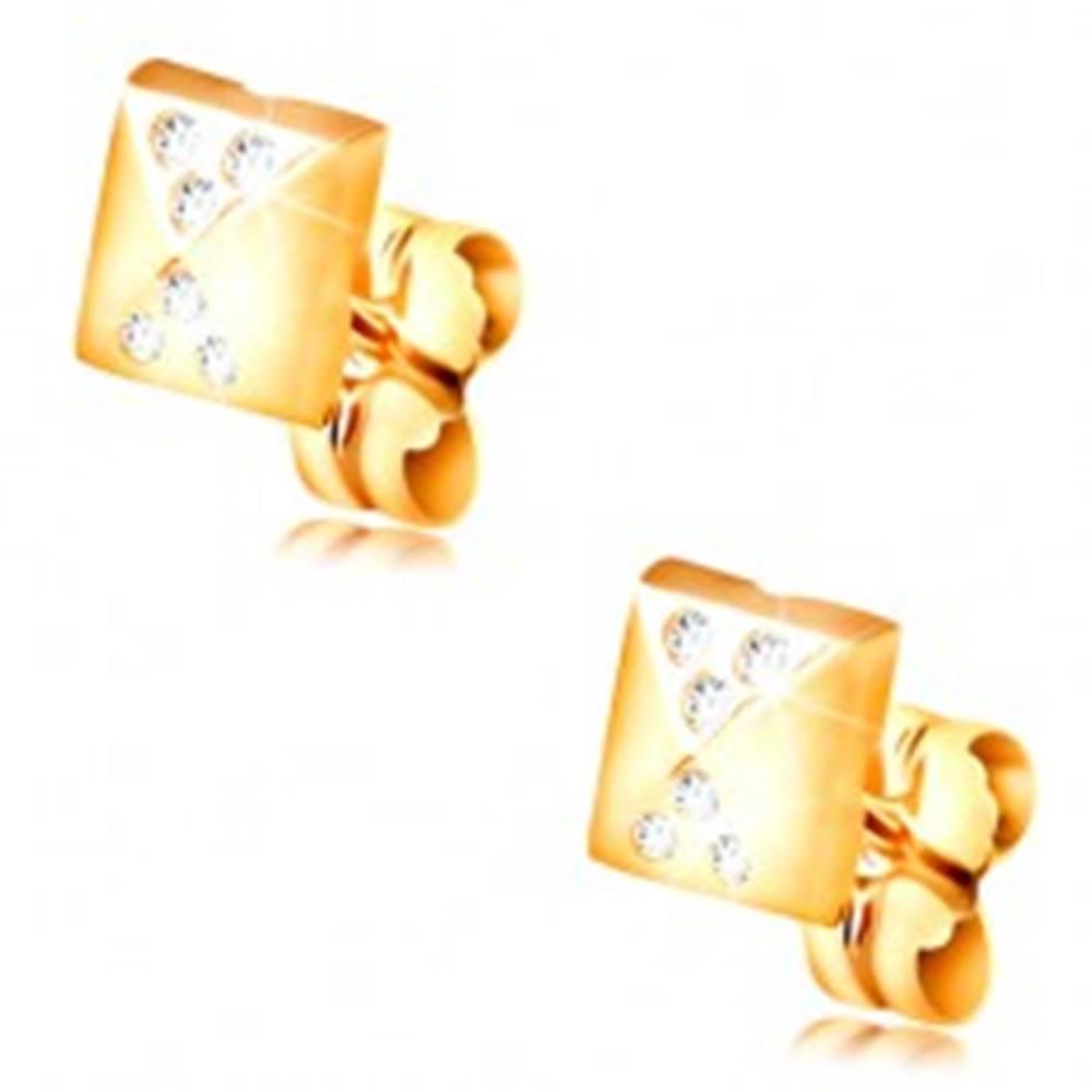Šperky eshop Náušnice v žltom 14K zlate, lesklý malý ihlan, drobné číre zirkóny