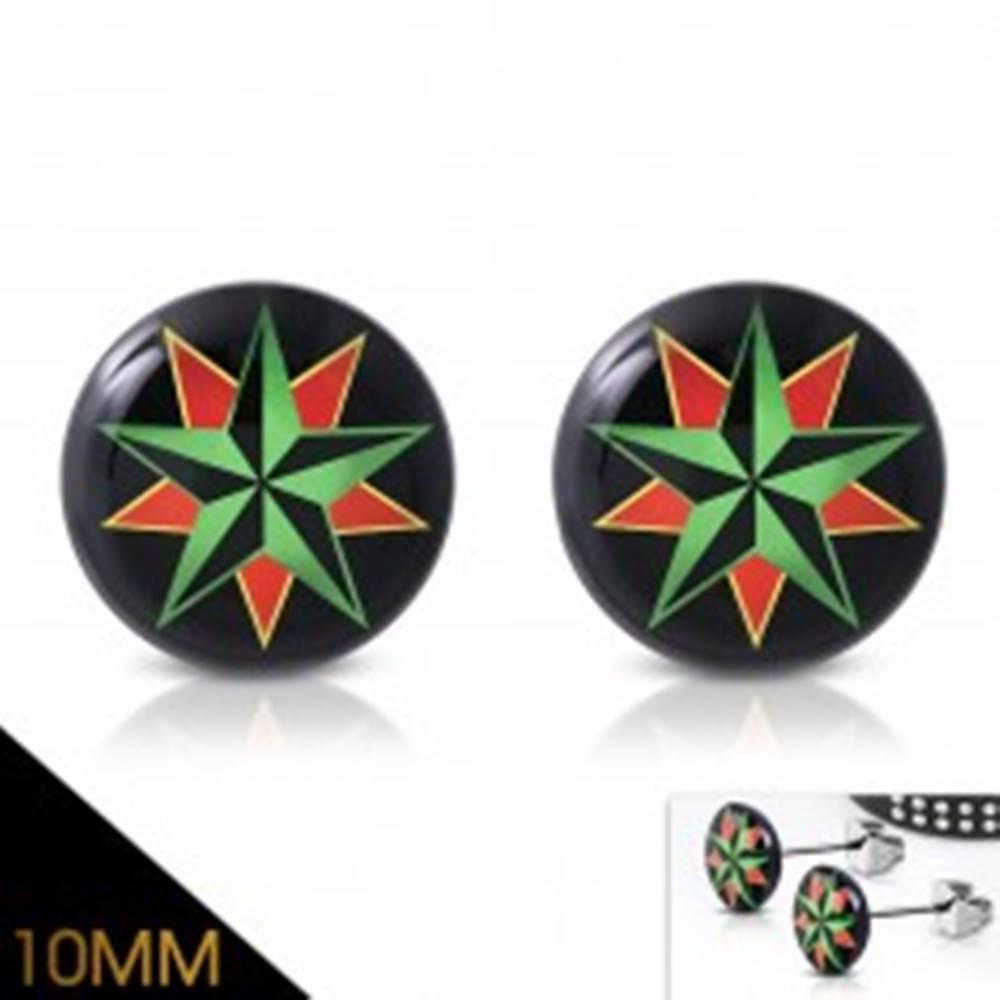 Šperky eshop Náušnice z chirurgickej ocele, akrylový kruh s farebnou námornou hviezdou
