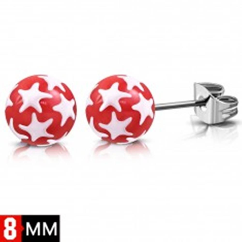 Šperky eshop Náušnice z chirurgickej ocele, červené guličky s bielymi hviezdami