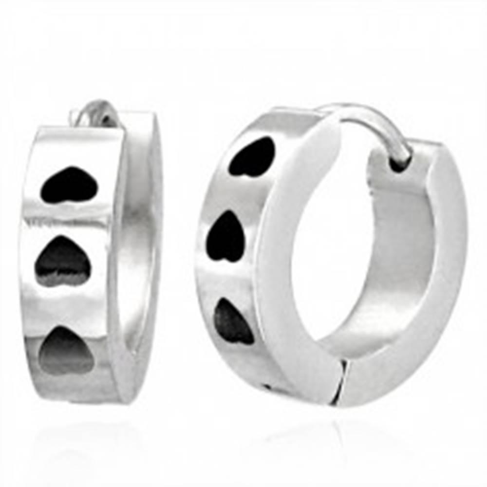 Šperky eshop Náušnice z chirurgickej ocele s čiernymi srdiečkami